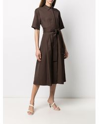 P.A.R.O.S.H. Long Dress With Belt - Brown