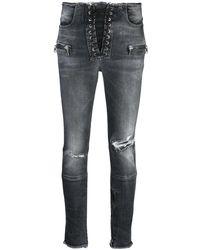 Unravel Project Jeans skinny con effetto vissuto - Nero