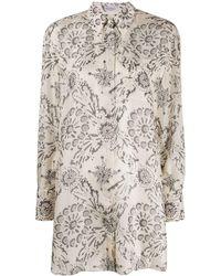 Brunello Cucinelli Long Floral Print Shirt - Multicolour