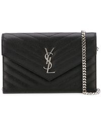 Saint Laurent Mini Borsa Envelope Con Catena - Nero