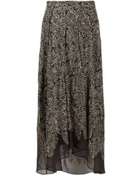 Brunello Cucinelli Semi-sheer Leaf Print Skirt - Gray