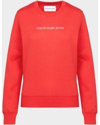 Calvin Klein Shrunken Institutional Sweatshirt - Red