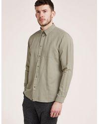 Folk - Mens Pop Stud Shirt Khaki - Lyst