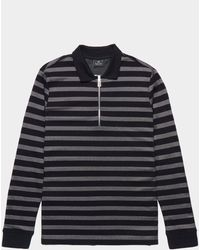 PS by Paul Smith Stripe Zip Placket Long Sleeve Polo Shirt Black