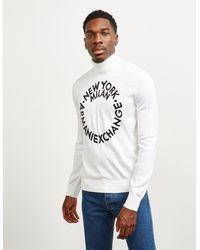Armani Exchange Circle Logo Roll Neck Sweater White