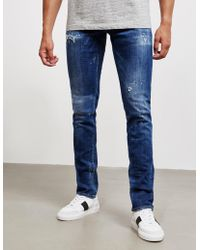 DSquared² - Mens Distressed Slim Straight Jeans Blue - Lyst
