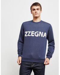 Z Zegna - Flocked Logo Sweatshirt Navy Blue - Lyst