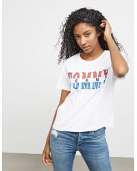 Tommy Hilfiger - Womens Retro Logo Short Sleeve T-shirt - Online Exclusive White - Lyst