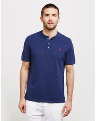 Polo Ralph Lauren Plain Grandad Collar Short Sleeve Polo Shirt Navy Blue
