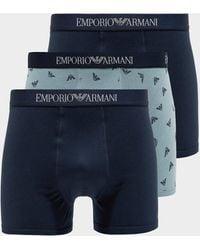 Emporio Armani 3-pack Trunks Blue