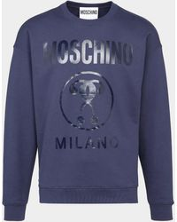Moschino - Milano Tonal Logo Sweatshirt Blue - Lyst