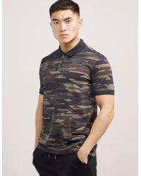 HUGO Camouflage Print Short Sleeve Polo Shirt Olive