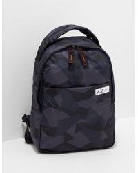 Armani Exchange Camouflage Backpack Blue