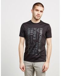 Emporio Armani - Mens Text Short Sleeve T-shirt Black - Lyst