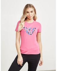 Emporio Armani Colour Eagle Short Sleeve T-shirt - Pink