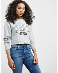 Polo Ralph Lauren - Womens Crop Sweatshirt Grey - Lyst