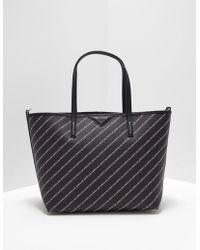 Karl Lagerfeld Striped Logo Shopper Bag