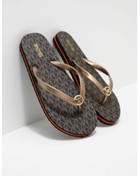 Michael Kors Eva Flip Flops Brown