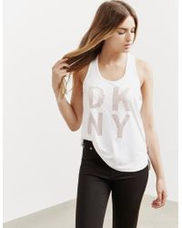DKNY - Womens Perforated Vest - Online Exclusive White - Lyst