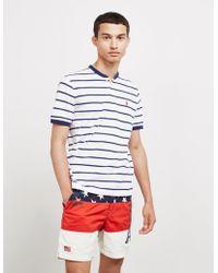 Polo Ralph Lauren Stripe Grandad Collar Short Sleeve Polo Shirt White