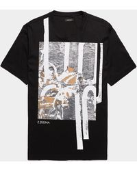 Z Zegna Paint Drip Short Sleeve T-shirt Black