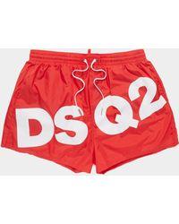 DSquared² Logo Swim Shorts - Red