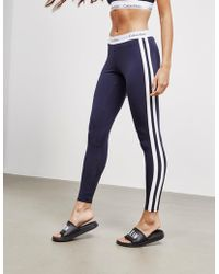 Calvin Klein - Stripe Leggings Navy Blue - Lyst