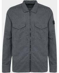 BOSS by Hugo Boss - Lom Zip Overshirt Grey - Lyst
