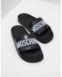 Moschino - Mens Print Slides Black - Lyst