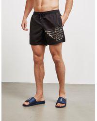 Emporio Armani Loungewear Large Eagle Swim Shorts Black