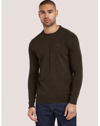 Barbour - Mens Wool Crew Knitted Jumper Brown - Lyst