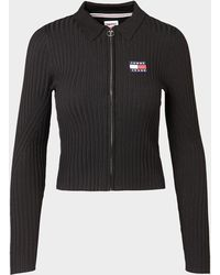 Tommy Hilfiger Ribbed Zip Knitted Shirt - Black