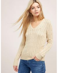 8d04f7064 Polo Ralph Lauren - Cable Knitted V-neck Sweater Beige - Lyst