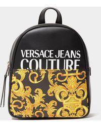 Versace Jeans Couture Split Logo Backpack Bag - Black