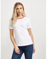 HUGO Stripe-neck Slim-fit T-shirt In Recotâ2â® Cotton - White