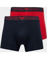 Emporio Armani - Mens 2-pack Boxer Shorts Navy/red/navy/red - Lyst