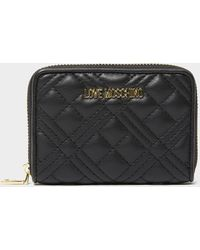 Love Moschino Quilted Small Zip Purse - Black