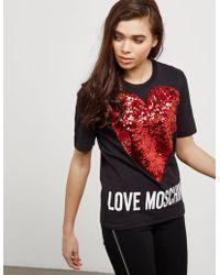 Love Moschino | Womens Sequin Heart Short Sleeve T-shirt Black | Lyst