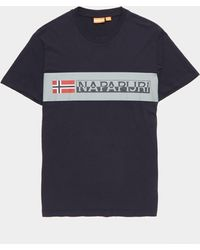 Napapijri Block Logo Short Sleeve T-shirt Navy Blue