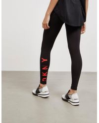 DKNY - Womens High Waisted Elasticated Joggers Black - Lyst