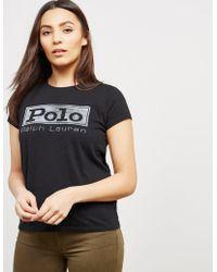 Polo Ralph Lauren - Womens Square Short Sleeve T-shirt - Online Exclusive Black - Lyst