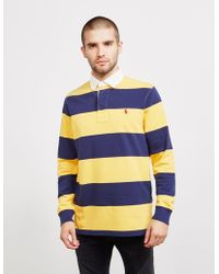 Polo Ralph Lauren Stripe Rugby Long Sleeve Polo Shirt Yellow