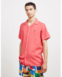Polo Ralph Lauren Cuban Linen Short Sleeve Shirt Pink