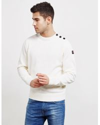 Paul & Shark Button Shoulder Sweater White