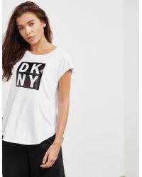 DKNY - Womens Logo Short Sleeve T-shirt White - Lyst