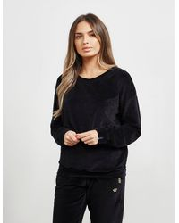 True Religion Velvet Crew Neck Sweatshirt Black