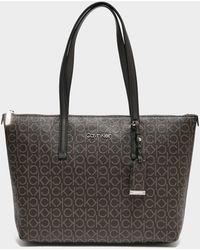 Calvin Klein Monogram Shopper Bag - Brown