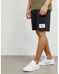 Calvin Klein - Mens Patch Fleece Shorts Black - Lyst