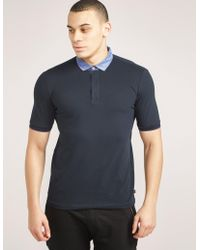 Armani - Mens Contrast Collar Polo Shirt Navy Blue - Lyst
