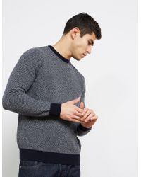 Barbour - Mens Calvay Jacquard Knit Jumper Navy Blue - Lyst